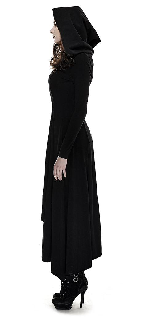 Long black hooded dress with long sleeves witch coven gothic Punk Rave