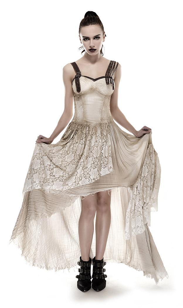 8bbbe1b0e1d PUNK RAVE SHOP Q-291KH Longue robe beige en dentelle fleurie asymétrique à  bretelles gothique