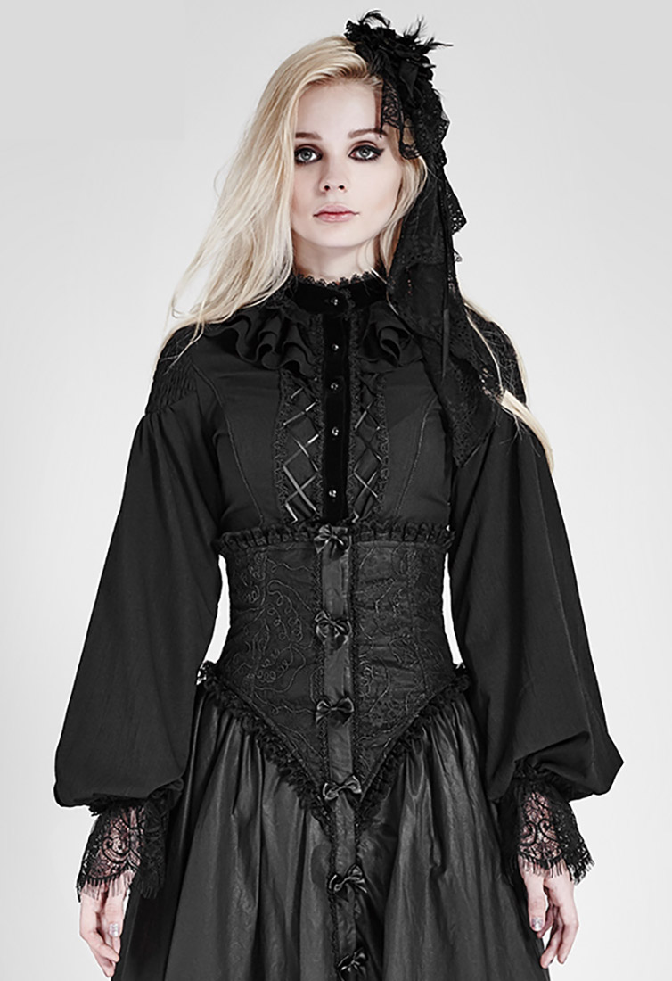 Gothic Élégant Ari Manches Noire À Bouffantes En Lolita Longues Chemise ChiffonGoth R3j4A5L