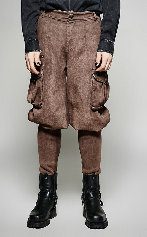 Marron Grandes Steampunk Pantalon Avec Militaire Mécanicien Homme nPv8myN0wO