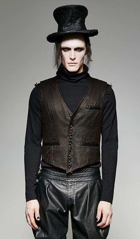 3d0fe6554e82 Homme Cuir Veste Gilet Vintage De Costume Imitation Marron qrtrXz