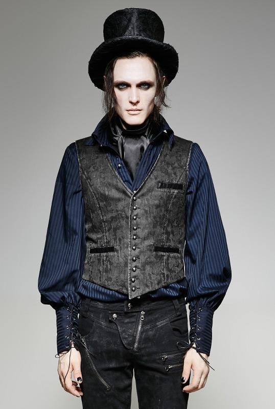 484137e67abc Costume Veste Gilet De Steampunk Homme Imitation Gris Cuir Vintage SqTSExr