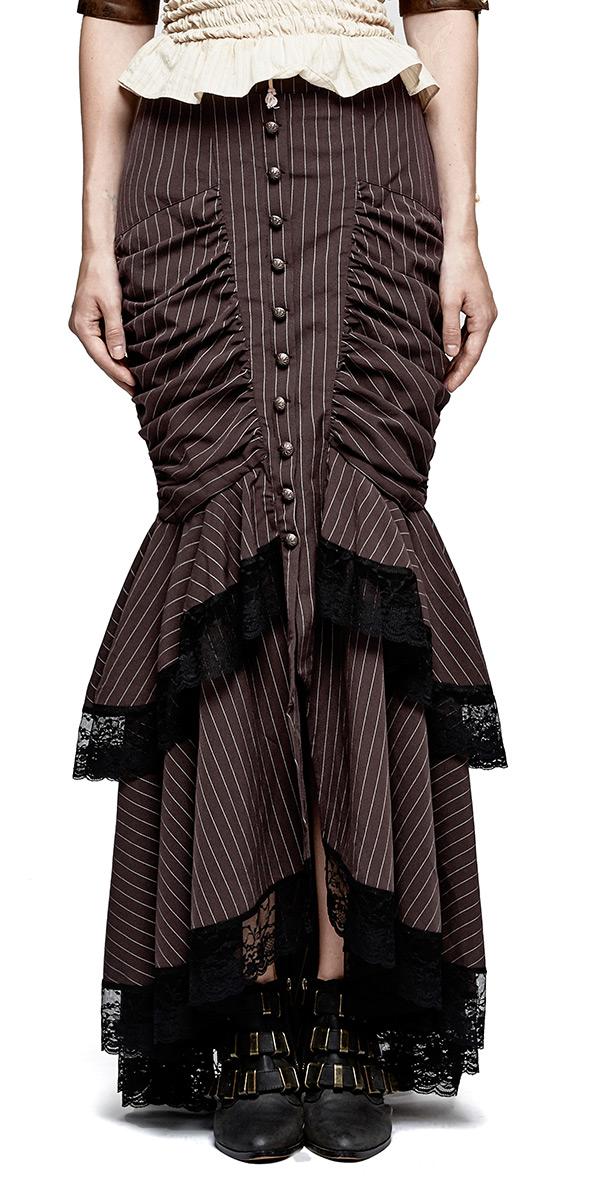 Jupe sirène marron rayée avec dentelle noire, boutons et plis de tissu,  steampunkPunk Rave Q-306CO Référence   PUNKR0255 5284f98d2e1