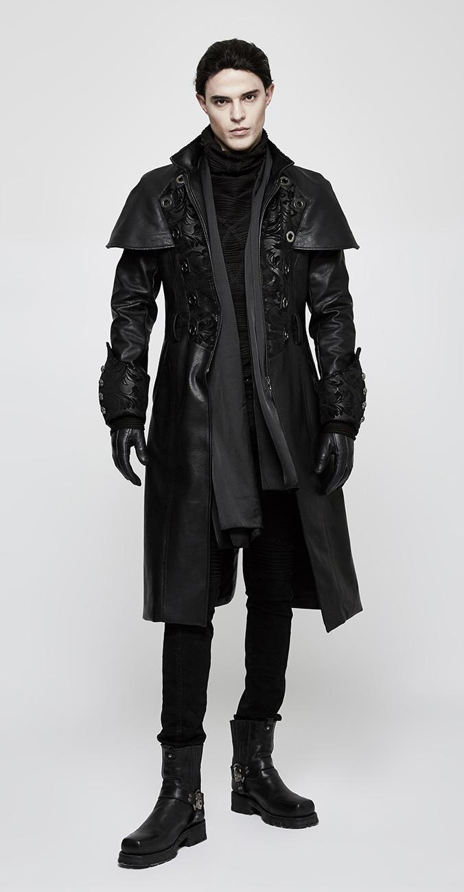 Rivets Motifs Noir Avec Manteau Et Imitation Homme Pour Cuir nvfn8wAYq