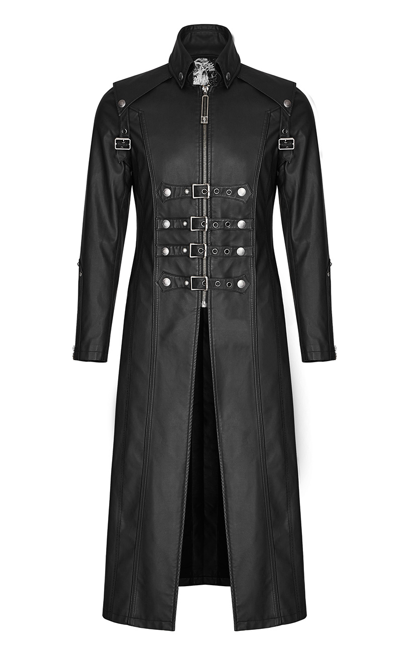 SanglesPunk Rave Imitation Cuir Classe Avec Manteau Long Noir Pour Homme FK1JcTl3