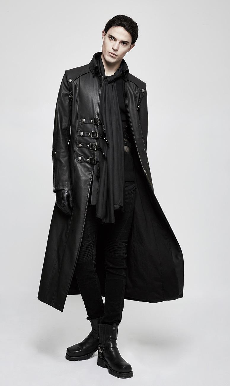 55300f20814f PUNK RAVE SHOP Y-809BK Long manteau classe noir imitation cuir pour homme  avec sangles