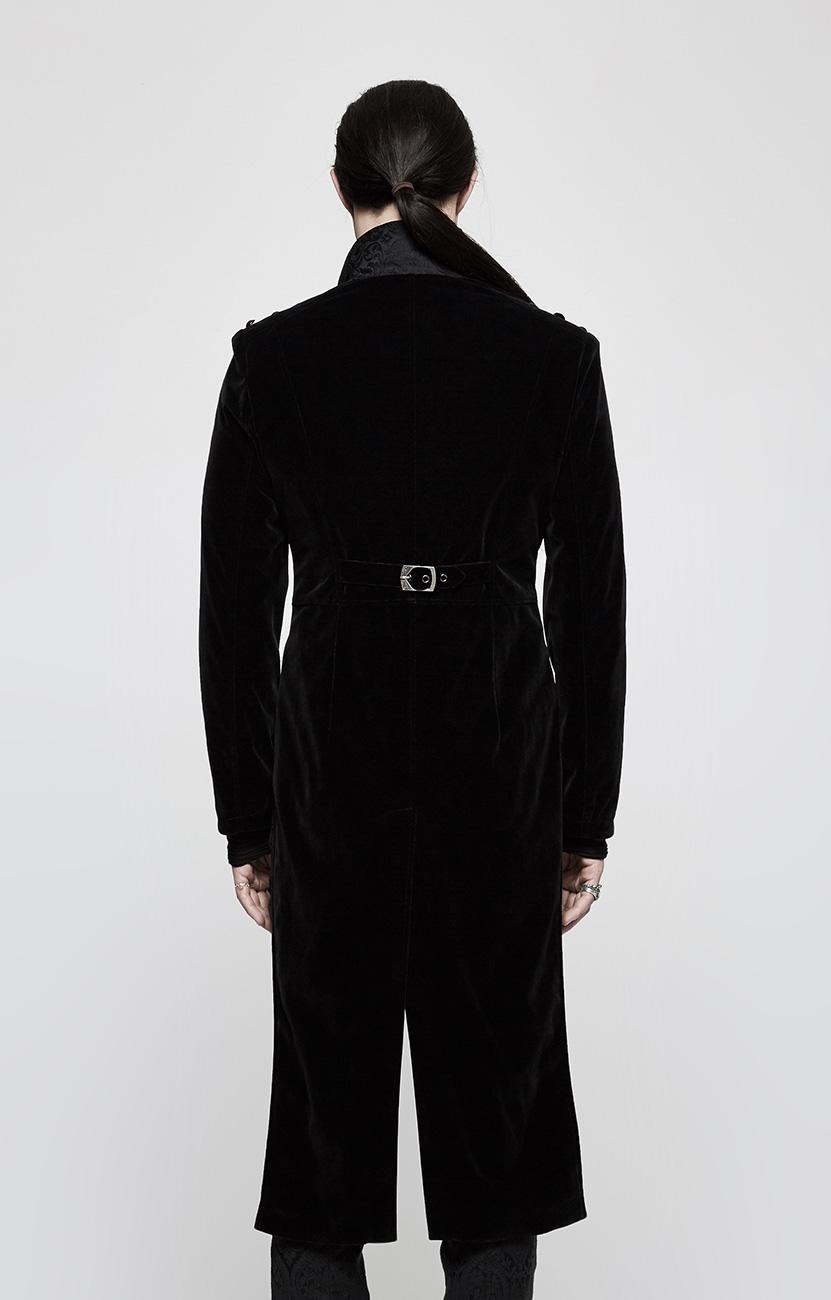 boutons avec et en velours motifs noir long Manteau LS34Aq5jRc