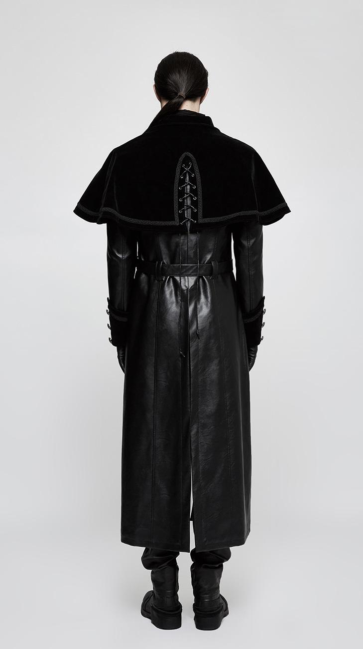 05843e0f589b PUNK RAVE SHOP Y-815BK Long manteau noir en velours pour homme avec petite  cape