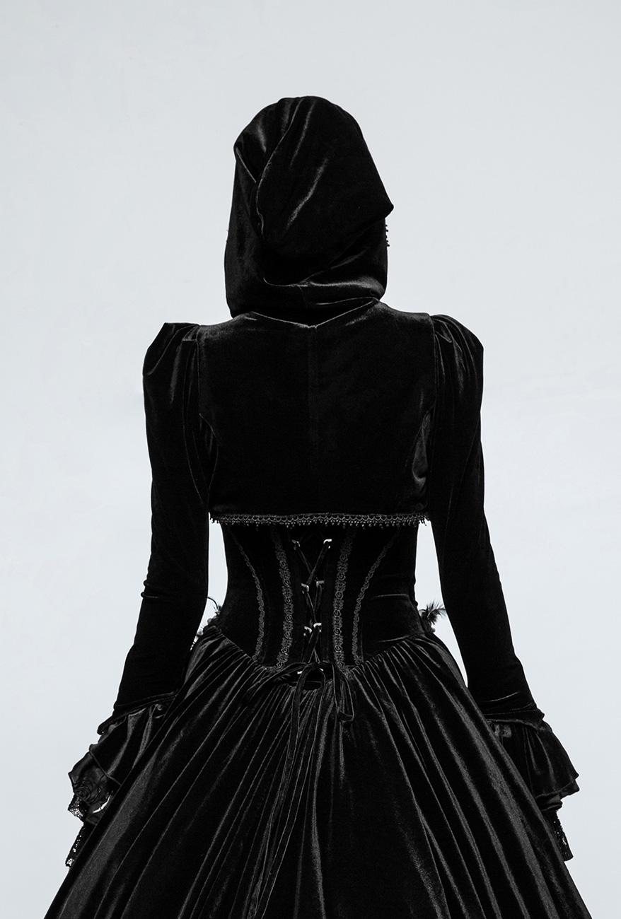 Gothique 15604 Manche Évasées en Dentelle Punk Rave Boléro Noir en Velours avec Capuche