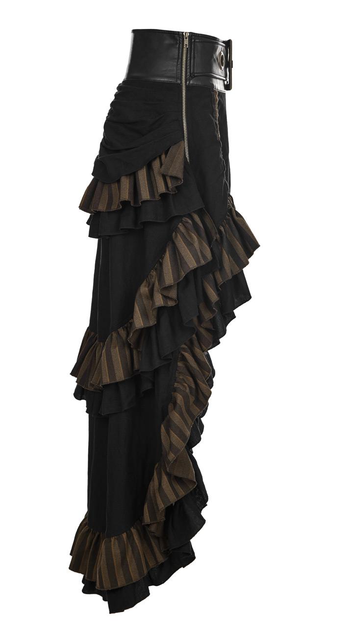 a8a2d3c32ba20f Jupe marron et noire rayée, grosse ceinture décorative, steampunk western,  Punk Rave