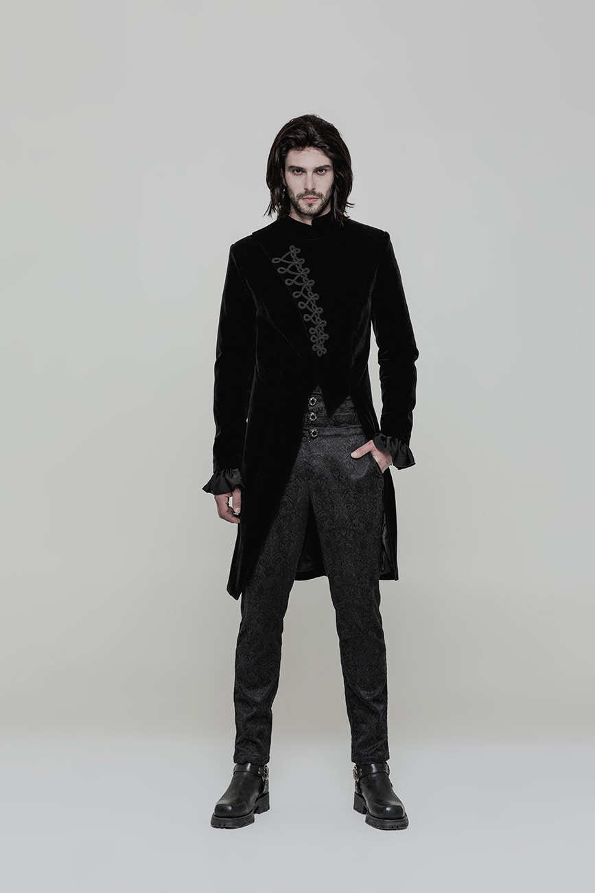 veste longue homme asym trique en velours noir avec. Black Bedroom Furniture Sets. Home Design Ideas