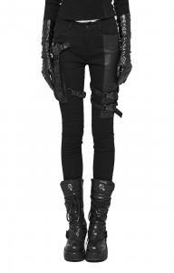Pantalon jeans noir poches et sangles imitation cuir, rock gothique, Punk  Rave fe417e968b92