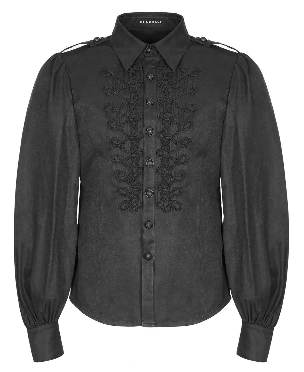 pas cher pour réduction f17b7 d6bf0 Chemise noire homme avec manches bouffantes et broderie, gothique élégant,  Punk Rave
