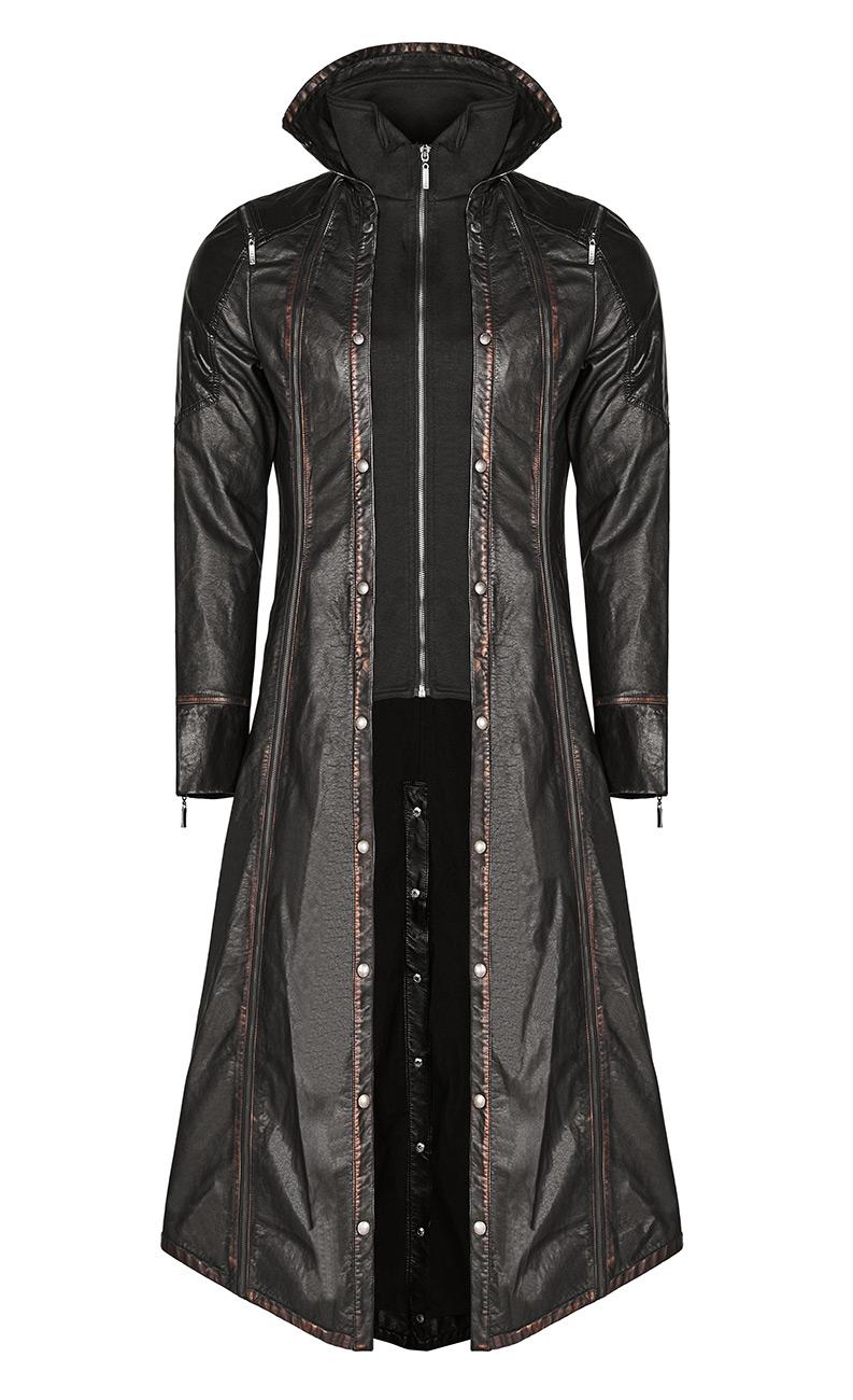 prix d'usine d4606 dbedf Veste longue noire et marron cuir synthétique motif ailes au dos, faux 2  pcs Punk Rav